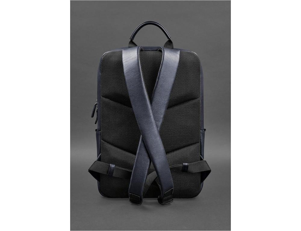 Тёмно-синий мужской рюкзак кожаный Blancnote BN-BAG-39-navy-blue - Фото № 4