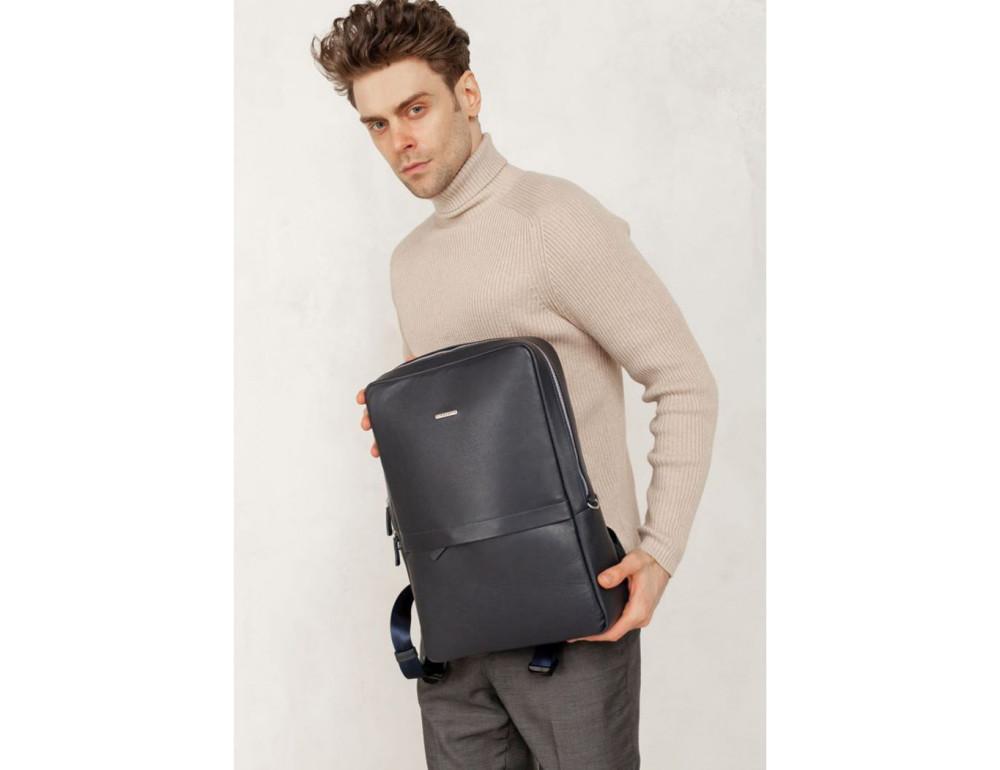 Тёмно-синий мужской рюкзак кожаный Blancnote BN-BAG-39-navy-blue - Фото № 5
