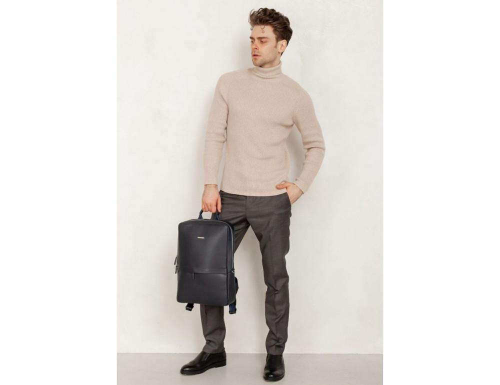 Тёмно-синий мужской рюкзак кожаный Blancnote BN-BAG-39-navy-blue - Фото № 6