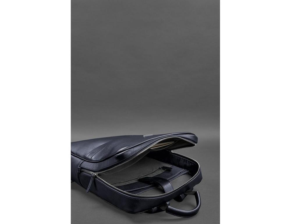 Тёмно-синий мужской рюкзак кожаный Blancnote BN-BAG-39-navy-blue - Фото № 7