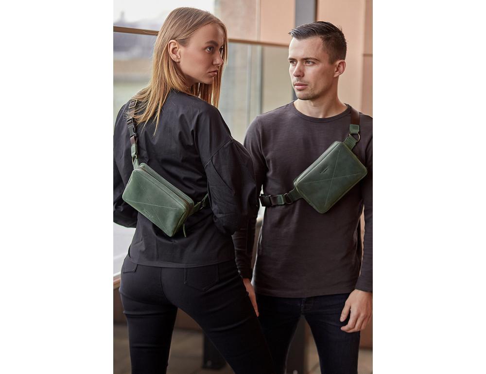 Стильная кожаная сумка на пояс зелёного цвета Blancnote BN-BAG-6-IZ - Фото № 2