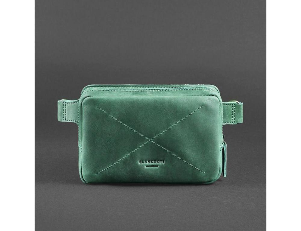 Стильная кожаная сумка на пояс зелёного цвета Blancnote BN-BAG-6-IZ - Фото № 1