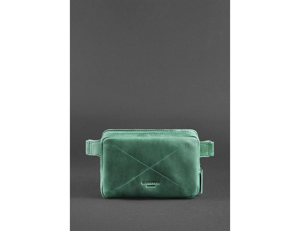 Стильная кожаная сумка на пояс зелёного цвета Blancnote BN-BAG-6-IZ - Фото № 3