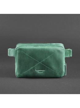 Стильная кожаная сумка на пояс зелёного цвета Blancnote BN-BAG-6-IZ