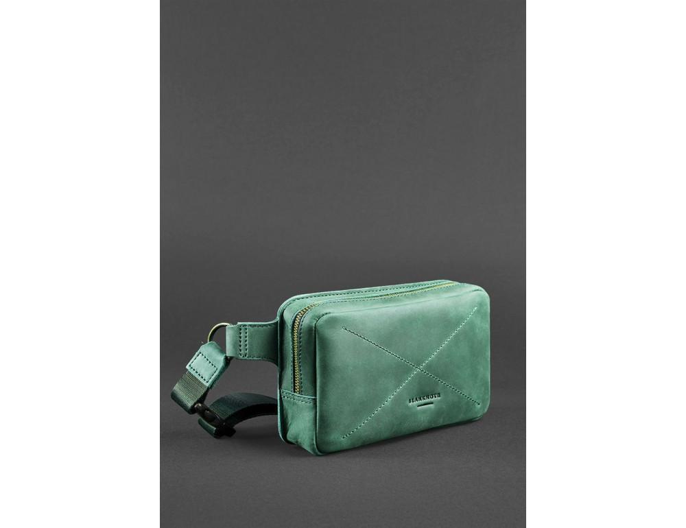 Стильная кожаная сумка на пояс зелёного цвета Blancnote BN-BAG-6-IZ - Фото № 4