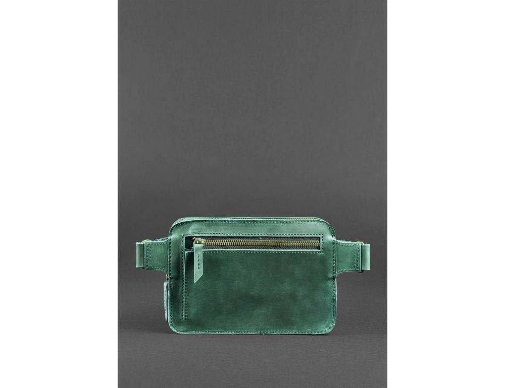 Стильная кожаная сумка на пояс зелёного цвета Blancnote BN-BAG-6-IZ - Фото № 5