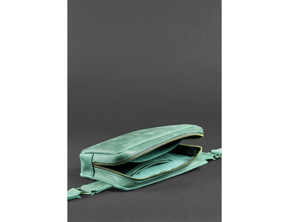 Стильная кожаная сумка на пояс зелёного цвета Blancnote BN-BAG-6-IZ - Фото № 6