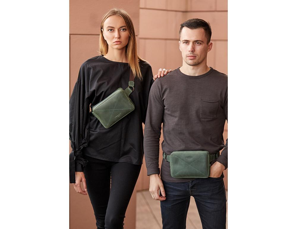 Стильная кожаная сумка на пояс зелёного цвета Blancnote BN-BAG-6-IZ - Фото № 7