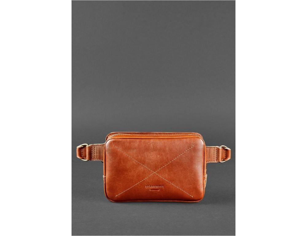 Светло-коричневая кожаная сумка на пояс Blanknote BN-BAG-6-K - Фото № 3