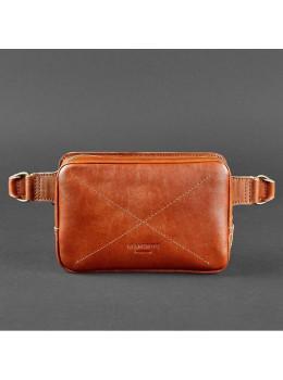 Светло-коричневая кожаная сумка на пояс Blanknote BN-BAG-6-K
