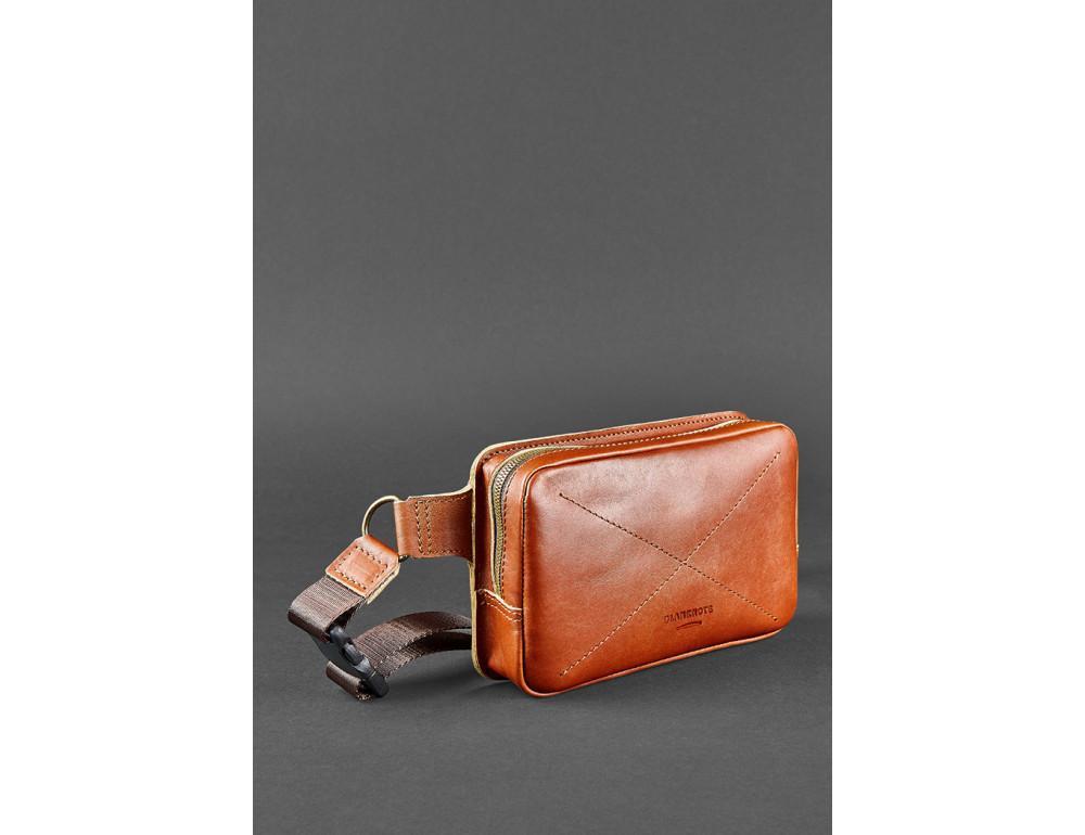 Светло-коричневая кожаная сумка на пояс Blanknote BN-BAG-6-K - Фото № 4