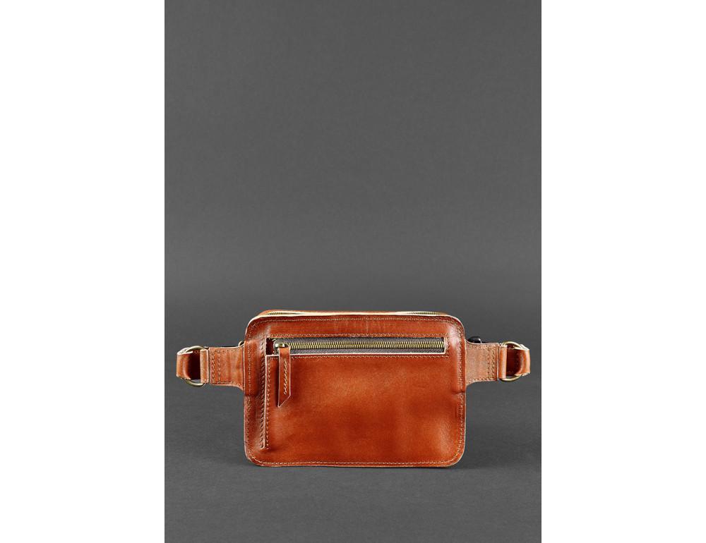 Светло-коричневая кожаная сумка на пояс Blanknote BN-BAG-6-K - Фото № 5
