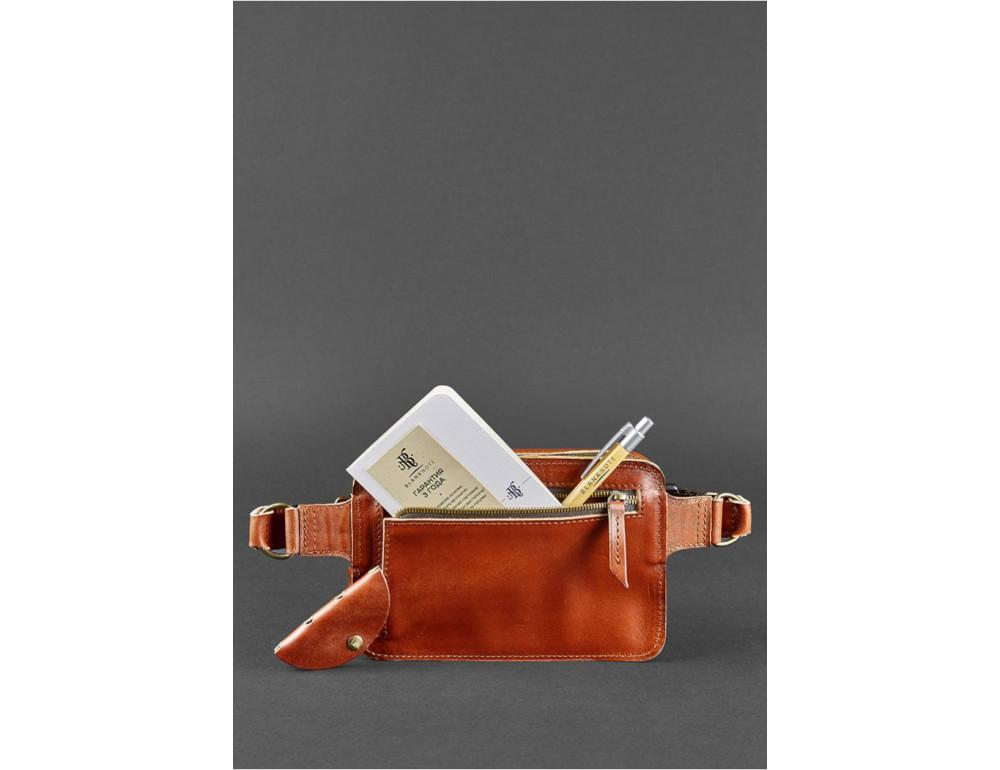 Светло-коричневая кожаная сумка на пояс Blanknote BN-BAG-6-K - Фото № 6