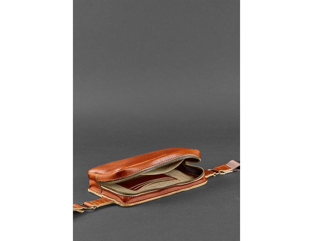 Светло-коричневая кожаная сумка на пояс Blanknote BN-BAG-6-K - Фото № 7