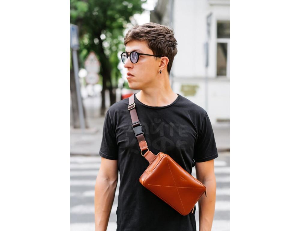 Светло-коричневая кожаная сумка на пояс Blancnote BN-BAG-20-K - Фото № 2