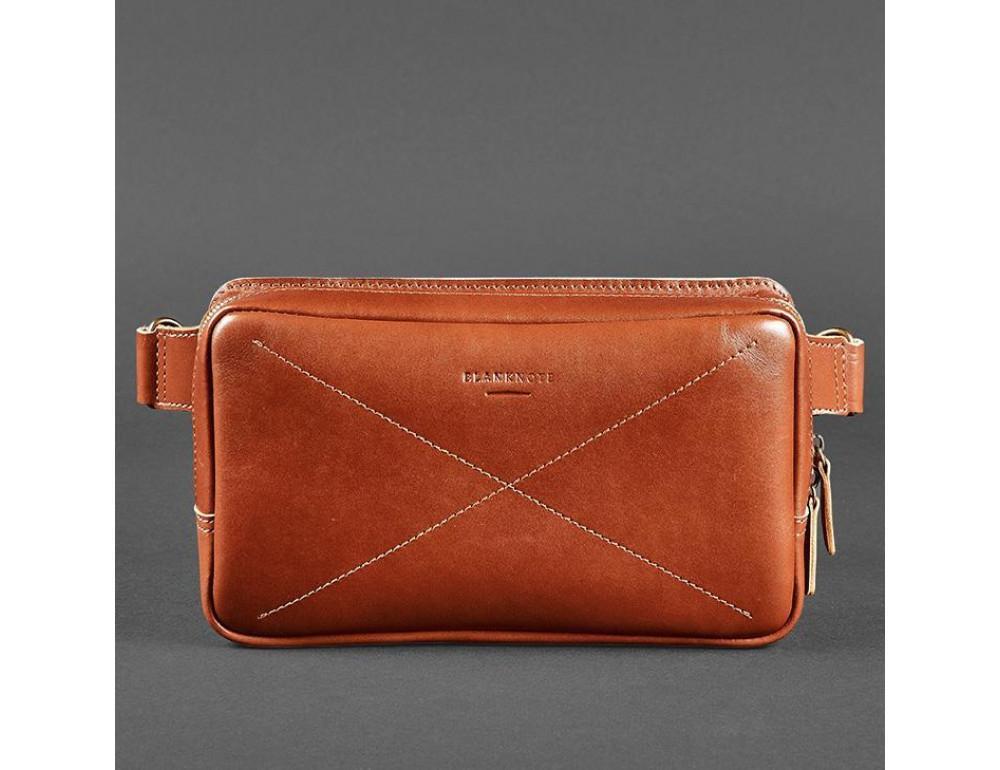 Світло-коричнева шкіряна сумка на пояс Blancnote BN-BAG-20-K