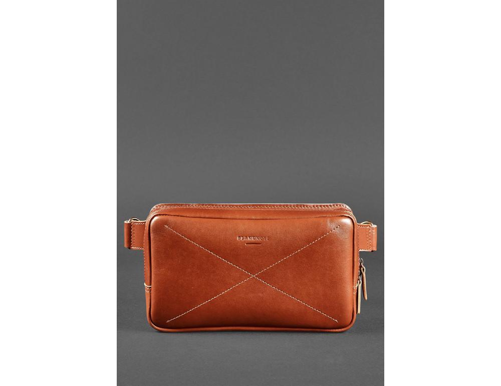 Светло-коричневая кожаная сумка на пояс Blancnote BN-BAG-20-K - Фото № 3