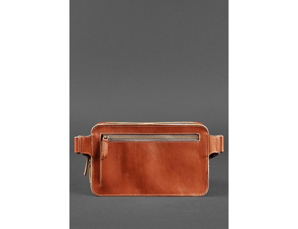 Светло-коричневая кожаная сумка на пояс Blancnote BN-BAG-20-K - Фото № 5