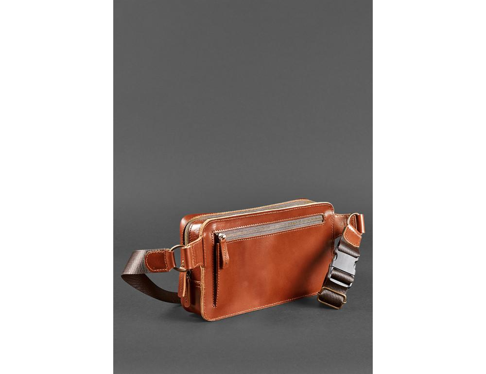 Светло-коричневая кожаная сумка на пояс Blancnote BN-BAG-20-K - Фото № 6
