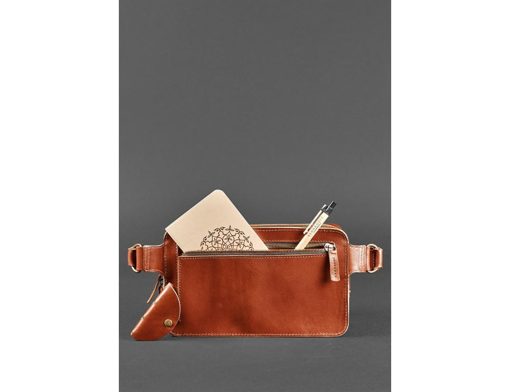 Светло-коричневая кожаная сумка на пояс Blancnote BN-BAG-20-K - Фото № 7