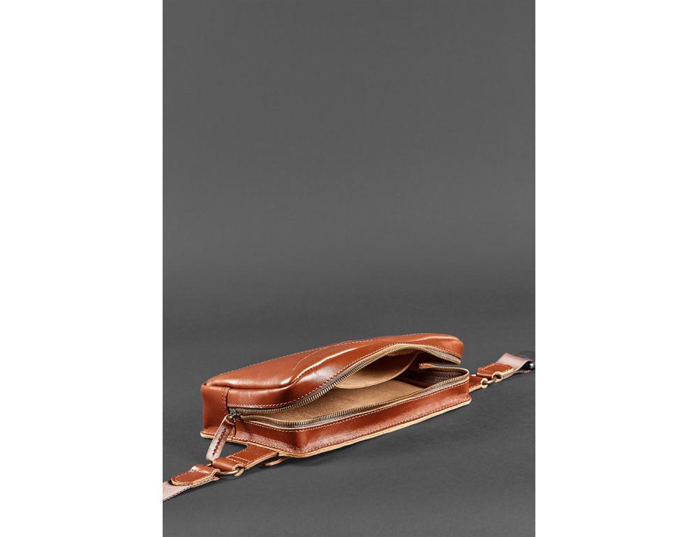 Светло-коричневая кожаная сумка на пояс Blancnote BN-BAG-20-K - Фото № 8