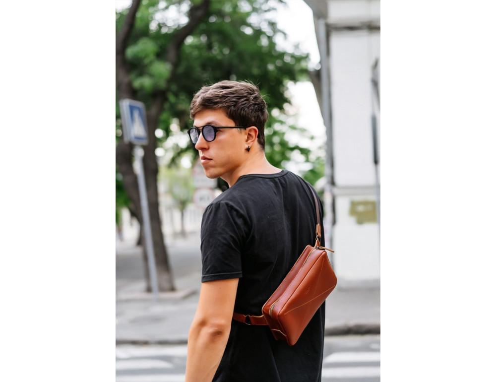Светло-коричневая кожаная сумка на пояс Blancnote BN-BAG-20-K - Фото № 9