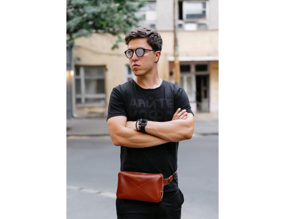 Светло-коричневая кожаная сумка на пояс Blancnote BN-BAG-20-K - Фото № 10