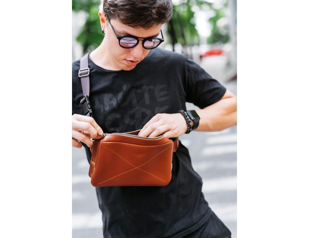 Светло-коричневая кожаная сумка на пояс Blancnote BN-BAG-20-K - Фото № 11