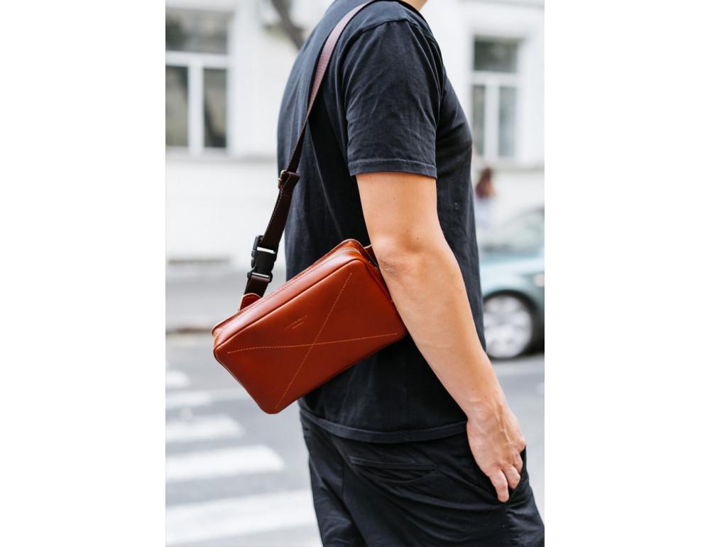 Светло-коричневая кожаная сумка на пояс Blancnote BN-BAG-20-K - Фото № 12