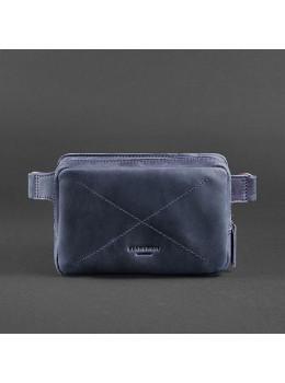 Синяя кожаная Crazy Hourse сумка на пояс Blancnote BN-BAG-6-NN