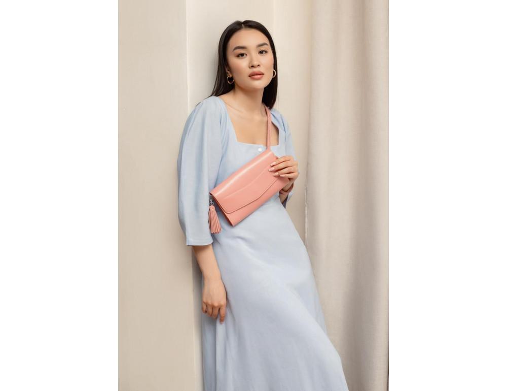 Кожаный клатч Элис blanknote BN-BAG-7-pink-peach пудровый - Фото № 1