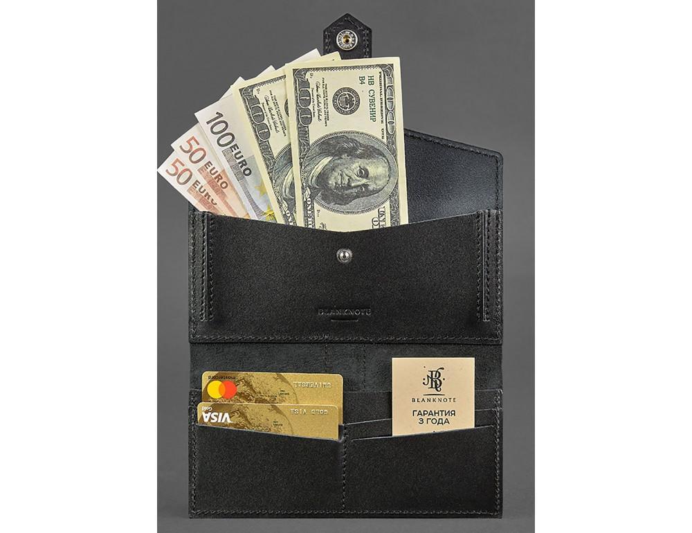Чорний шкіряний гаманець Blanknote BN-PM-3-G - Фото № 2