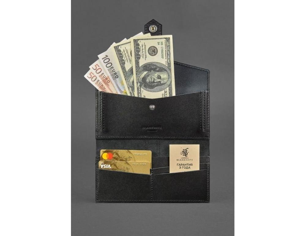 Чорний шкіряний гаманець Blanknote BN-PM-3-G - Фото № 4