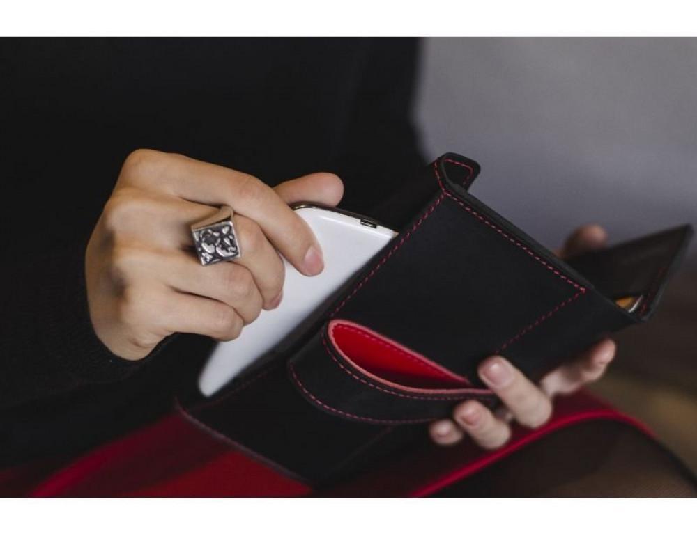 Жіночий шкіряний портмоне Графіт-полуниця Blanknote BN-PM-3-g-k - Фотографія № 4