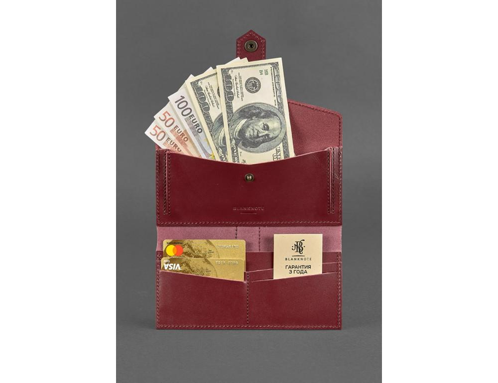 Женский виноградовый кошелек из кожи Blanknote BN-PM-3-vin - Фото № 3