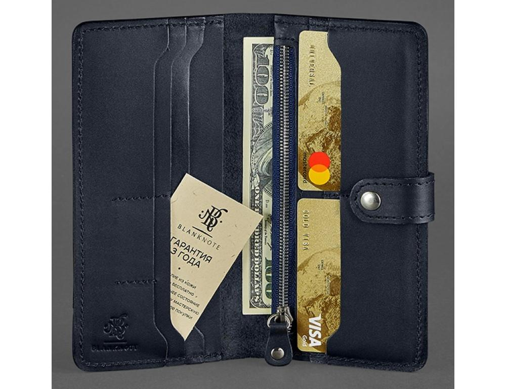 Тёмно-синий кожаный кошелек Blanknote BN-PM-7-NAVY-BLUE - Фото № 2