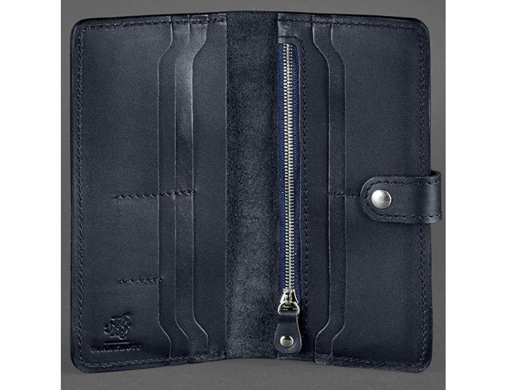 Тёмно-синий кожаный кошелек Blanknote BN-PM-7-NAVY-BLUE - Фото № 3