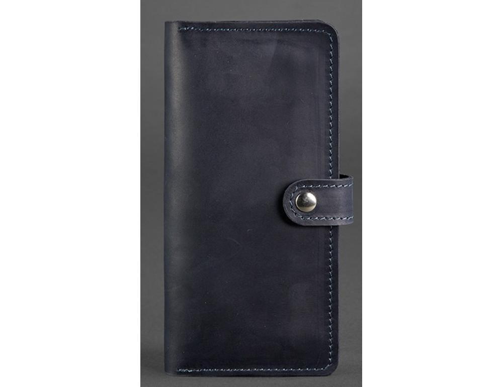 Тёмно-синий кожаный кошелек Blanknote BN-PM-7-nn