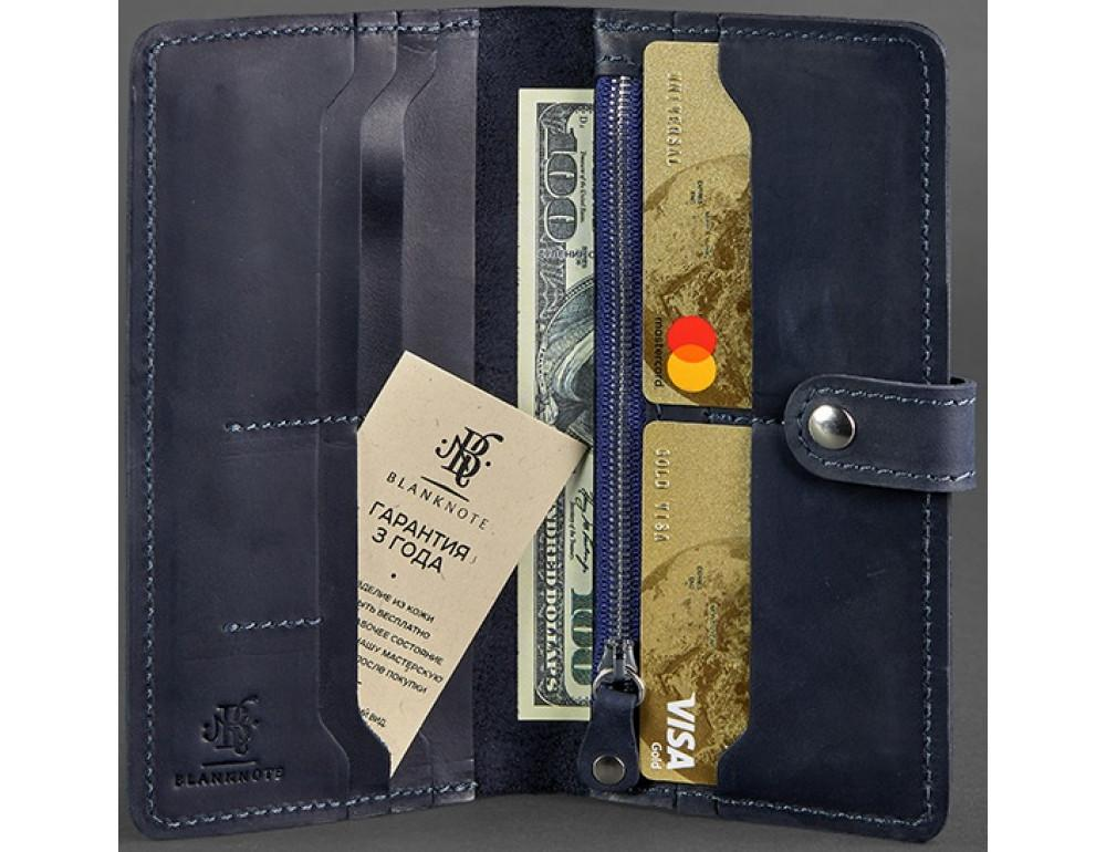 Тёмно-синий кожаный кошелек Blanknote BN-PM-7-nn - Фото № 2