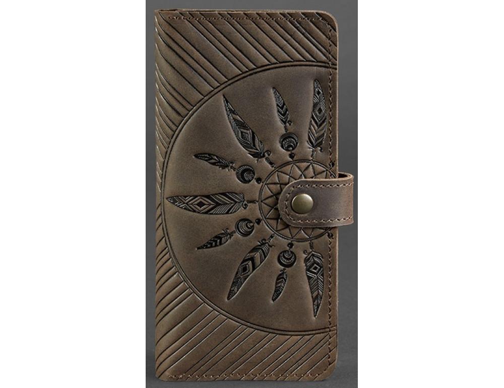 Тёмно-коричневый кожаный кошелек Blanknote BN-PM-7-o-ls