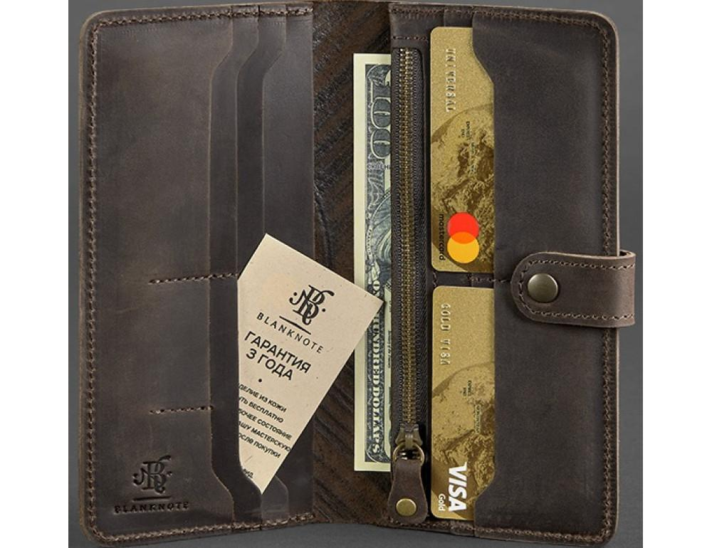 Тёмно-коричневый кожаный кошелек Blanknote BN-PM-7-o-ls - Фото № 2