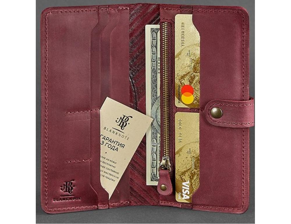 Бордовый кошелек Blanknote BN-PM-7-VIN-LS - Фото № 2