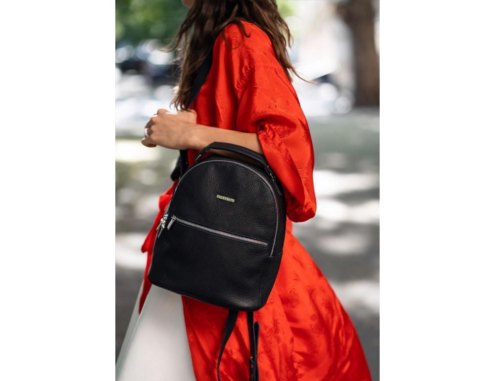 Женский кожаный мини-сумка-рюкзак Kylie BN-BAG-22-onyx черный - Фото № 1