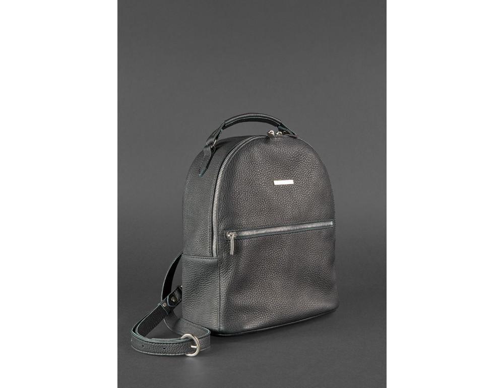 Женский кожаный мини-сумка-рюкзак Kylie BN-BAG-22-onyx черный - Фото № 3