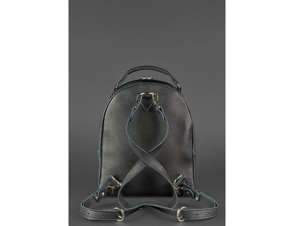 Женский кожаный мини-сумка-рюкзак Kylie BN-BAG-22-onyx черный - Фото № 4