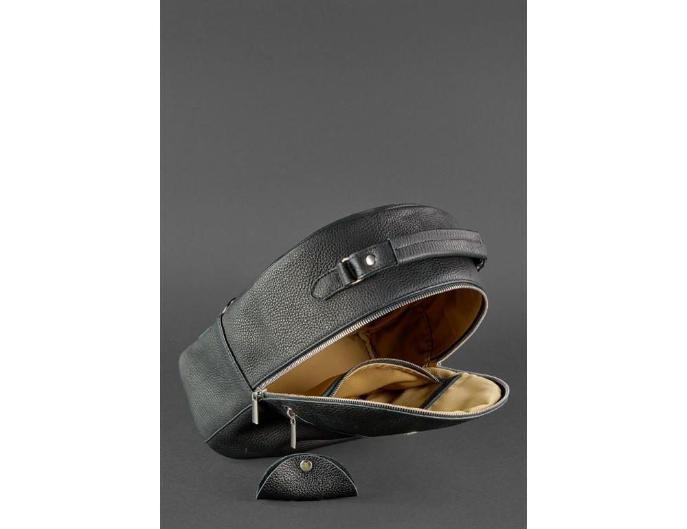 Женский кожаный мини-сумка-рюкзак Kylie BN-BAG-22-onyx черный - Фото № 5