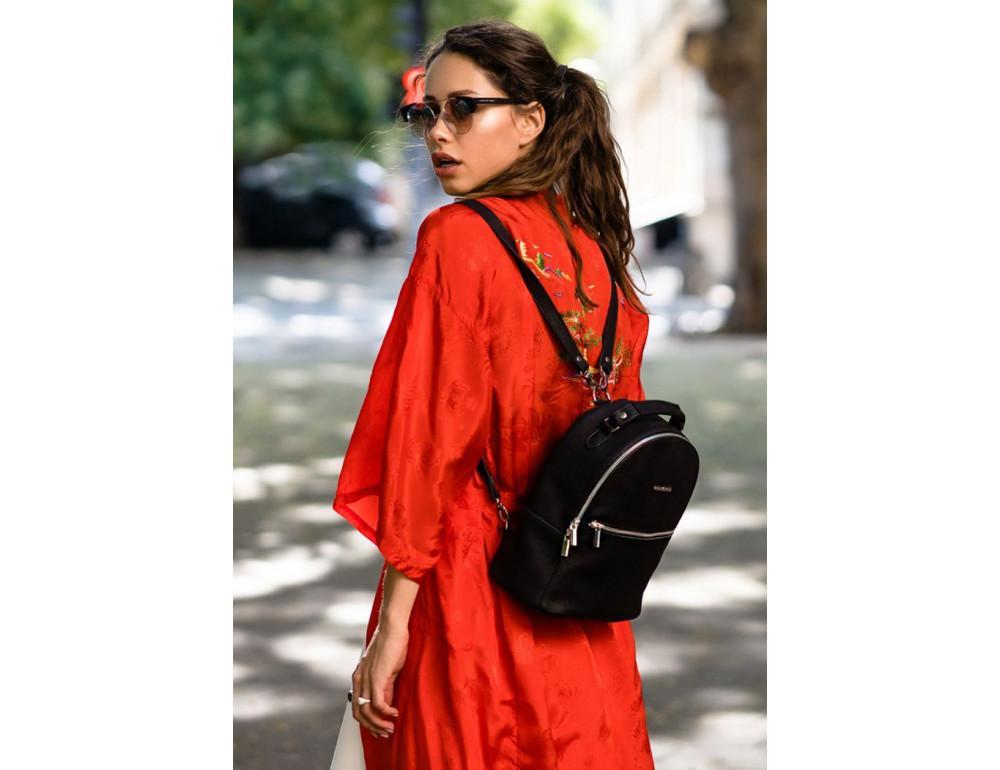 Женский кожаный мини-сумка-рюкзак Kylie BN-BAG-22-onyx черный - Фото № 6