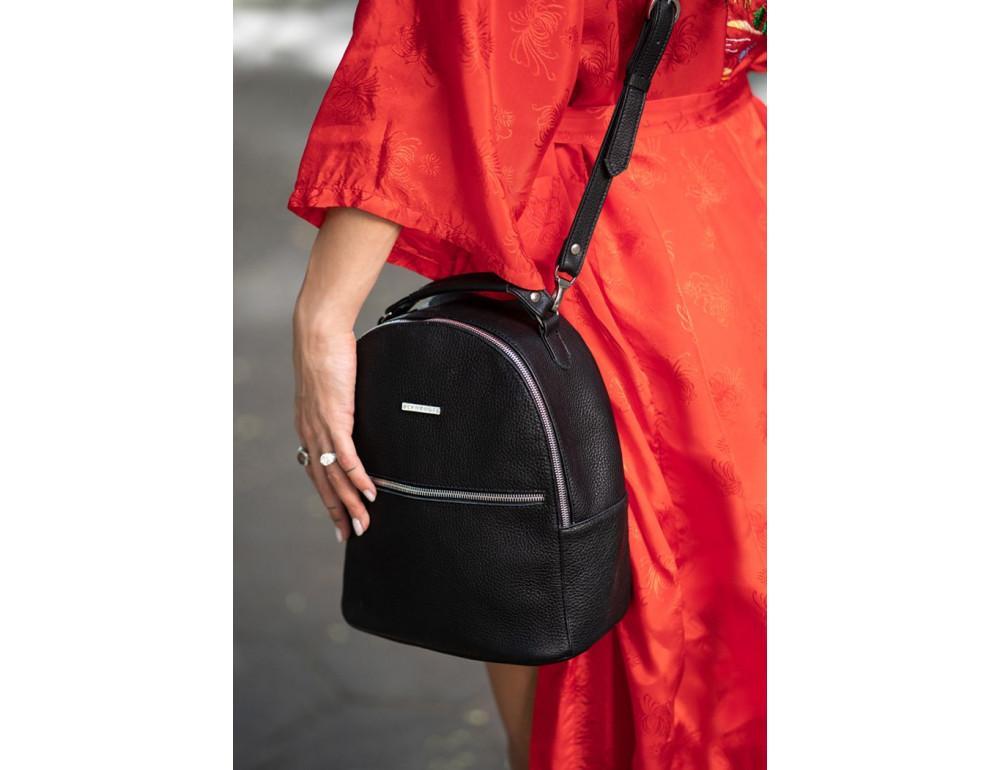 Женский кожаный мини-сумка-рюкзак Kylie BN-BAG-22-onyx черный - Фото № 7