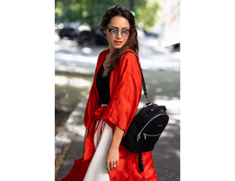 Женский кожаный мини-сумка-рюкзак Kylie BN-BAG-22-onyx черный - Фото № 8