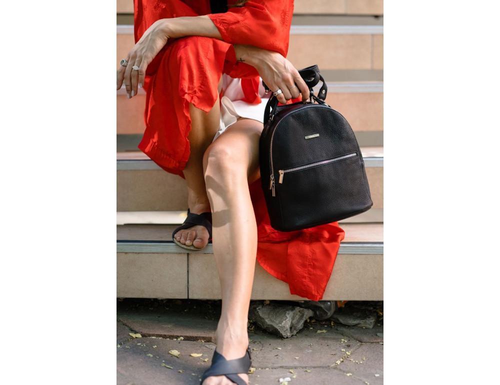 Женский кожаный мини-сумка-рюкзак Kylie BN-BAG-22-onyx черный - Фото № 9
